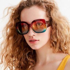 Cher Oversized Retro Square Rainbow Sunglasses